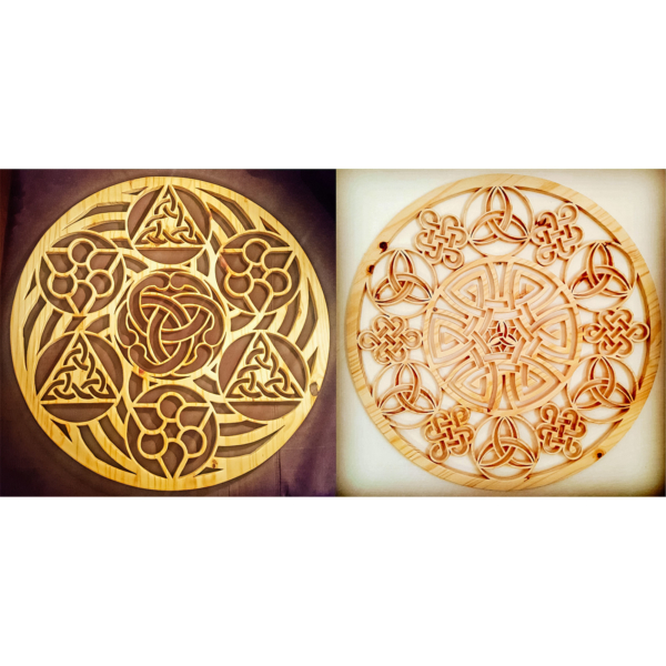 Two celtic mandalas on wall with unique pattern design