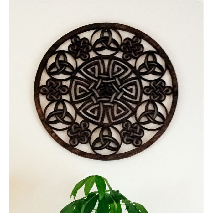 Dark celtic mandala mounted on wall