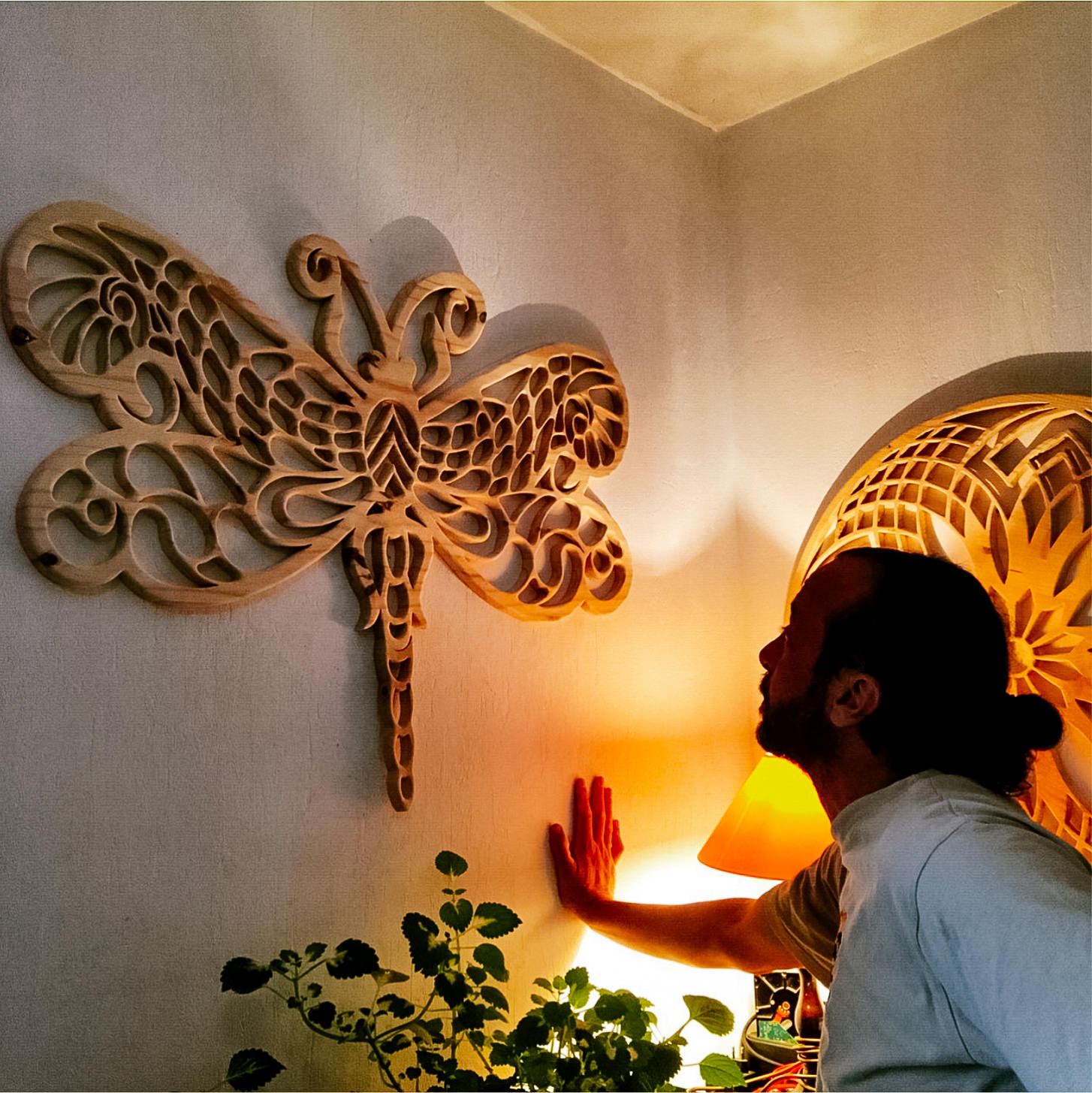 Custom Design Wooden Dragonfly Mandala