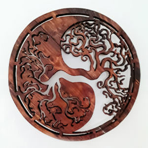 Wooden handcrafted mandala the Yin-Yang Tree of Life