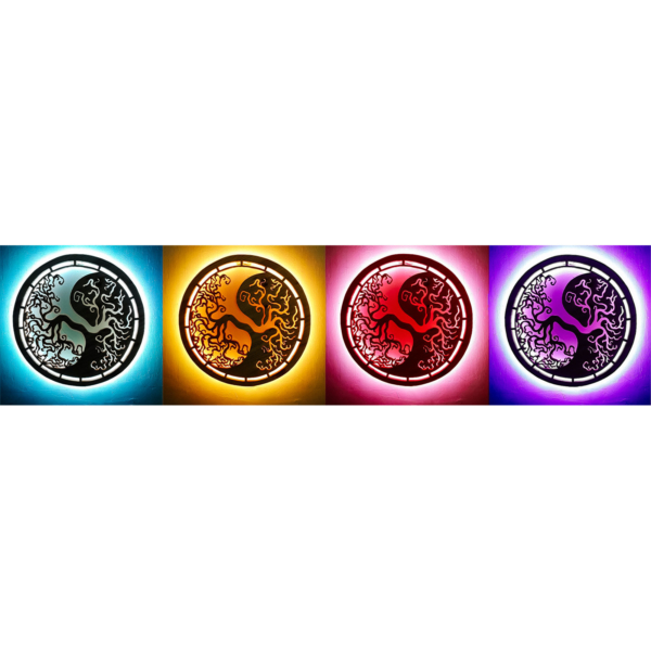Wooden handcrafted mandala Yin-Yang Tree of Life with colored LED lights mounted on wall